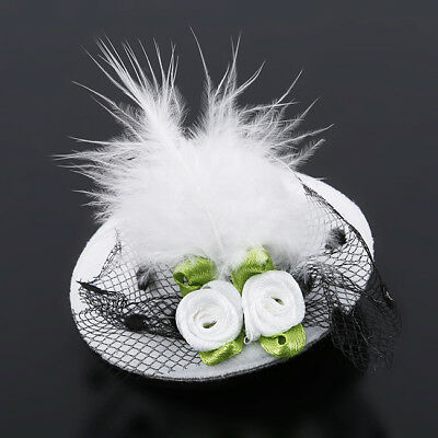 Pillbox Hat Cap Fascinator Feather Hair Clip Cocktail For Festival Accessory one
