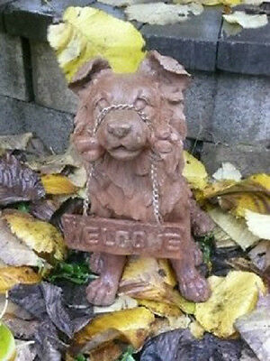 Rust Cast Iron Dog Sheltie Welcome Statue Home Garden Outdoor Lawn Yard Decor