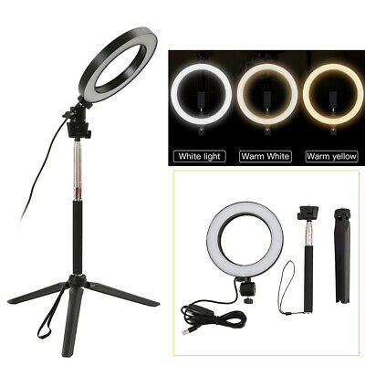 LED 3 Modes Dimmable Studio Camera Ring Light Photo Phone Video Fill Lamp 5500K