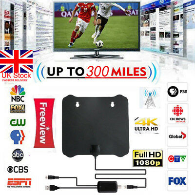 New 300 Miles Digital Antenna Clear TV Free HD 1080P Signal Amplifier Booster