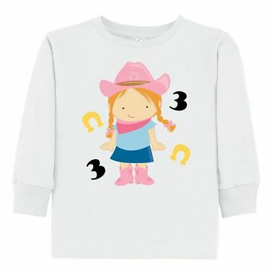 inktastic 3rd Birthday 3 Year Old Cowgirl Toddler Long Sleeve T-Shirt