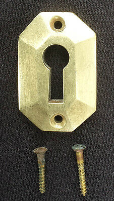 """35avail 1""""x1.5"""" Clean Antique Vintage Solid Cast Brass Door Key Hole Cover Plate"""