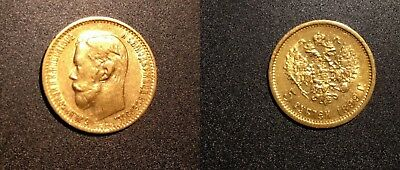 Russia 1899 Nicholas II 5 Roubles Gold Coin Crowned double-headed imperial eagle