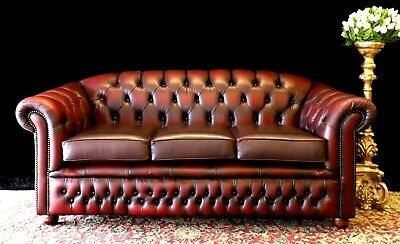 Gorgeous Vintage Gascoigne Leather Chesterfield 3 Seat Sofa Couch Lounge Suite