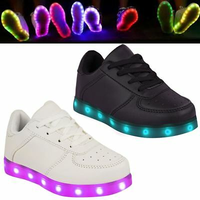 Kids Girls Trainers Flashing LED Luminous Lights USB Xmas Gift Lace Up White New