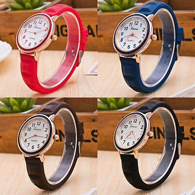 New Fashion Geneva Women Silicone Strap Gold Case Quartz Analog Wrist Watch Gift