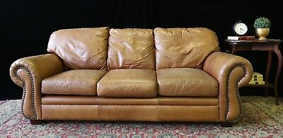 Divine Moran 3+ Seat Chesterfield Cigar Tan Aged Leather Sofa Couch Lounge