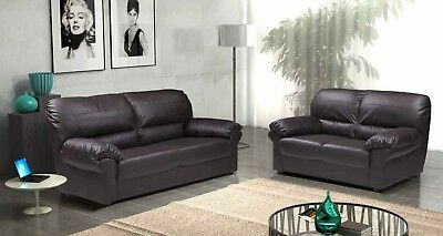 New Candy 3+2 Seater Settee Sofas Black Or Brown Faux Leather - Mega Sale