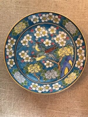 Hand Painted Pheasant And Cherry Blossom Porcelain Plate Japanese Art