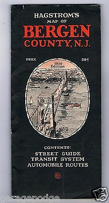 Vintage Hagstroms 1930 Bergen County New Jersey Map Railroad Street Road