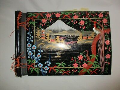Vtg. Hand-Painted Japanese Black Lacquer Scrapbooks Photo Album W/Photo