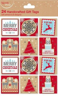 Traditional Handcrafted 24 Gift Tags Merry Christmas Wrapping Snowman Deer Santa