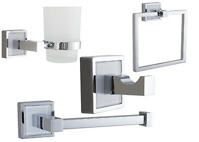 Polished Chrome Bathroom Accessories Set Modern Includes Fittings