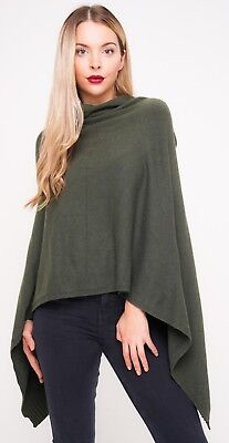 Ladies New Quirky Lagenlook Italian Angora Wool Mix Knitted Draped Poncho Cape