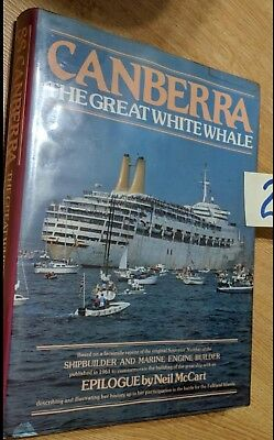 """Canberra """"White Whale"""" P&o Hardcover Shipbuilder Reprint And Final Voyage Menu"""