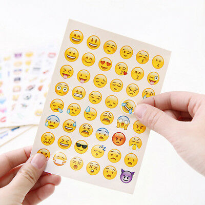 10 Sheets Cartoon Notebook Funny Stick Emoji Stickers Set Smile Face Stickers
