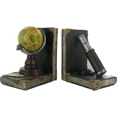 Globe and Telescope Shelf Tidy Bookends Vintage Retro Style Great Detail