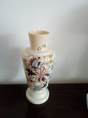 Large Antique cream vase with beautiful hand-painted  decoration of flowers