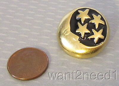 70s vtg French couture CRESCENT MOON & STARS ENAMEL BUTTON 28mm goldplate metal