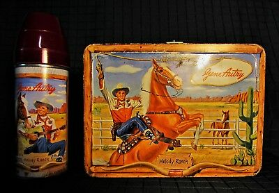 c.1954 Gene Autry Melody Ranch Metal Lunchbox w/Thermos. Fantastic Condition!!