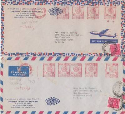 India - Christian Childrens Fund Air Mail Covers (2no Air Mails) 1973