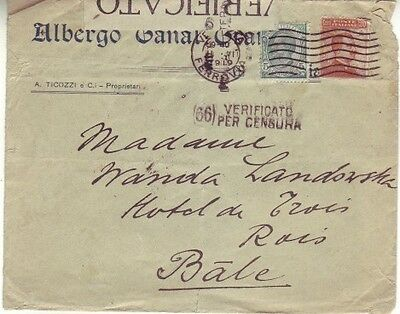 Italy - Censored Mail from Venice, Italy to Basel, Switzerland (PC) 1919