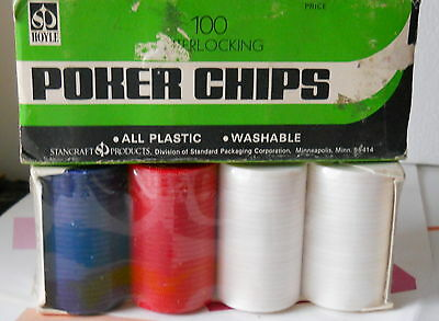 Vintage Box -'Official' Hoyle Poker Chips - 100 Plastic *Stancraft#1031 N.O.S.