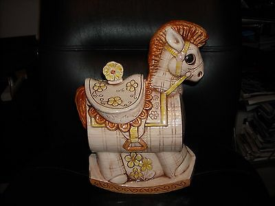 Vintage Treasure Craft Rocking Horse Cookie Jar Yellow/brown