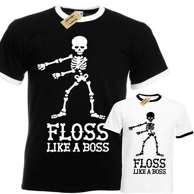 4c32dc511 Floss like a boss Skeleton T-Shirt mens ringer flossing dance dancing