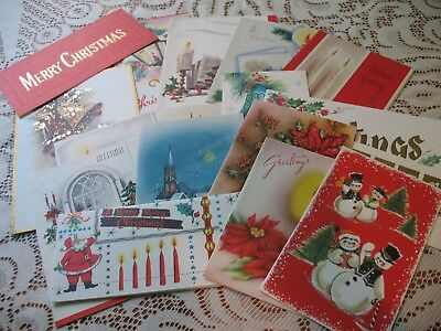 LOT of Vintage CHRISTMAS CARDS 40s-MidCentury LOVELY ASSORTMENT XMAS GREETINGS 4