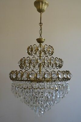 Vintage French Basket Style Brass& Crystals Chandelier Antique Ceiling Lamp