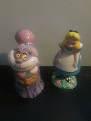 Disney Alice In Wonderland And Cheshire Cat Salt And Pepper Shakers Porcelain