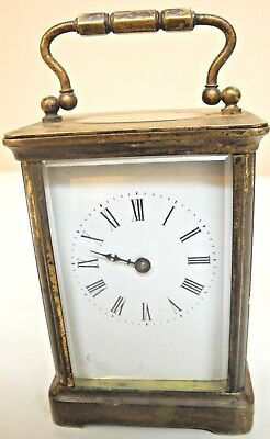 Antique Brass & Glass H&h Carriage Clock Made In France