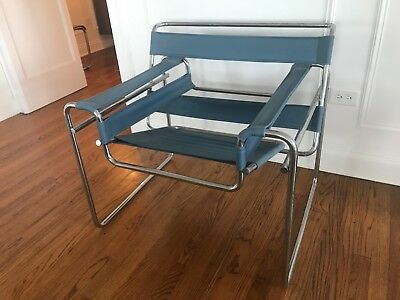 Vintage Wassily Chair Mid Century Modern Knoll Chrome, Replacement Blue Canvas