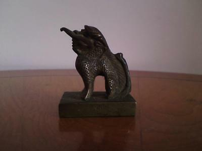 Old (c1920s) Chinese Bronze Character Stamp Seal Qilin Dragon Foo Dog Lion