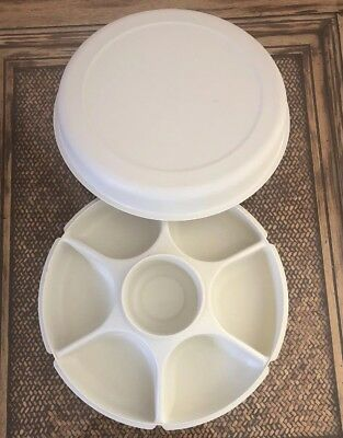 3 Piece Tupperware 14 Divided Vegetable Tray With Lid Dip Container