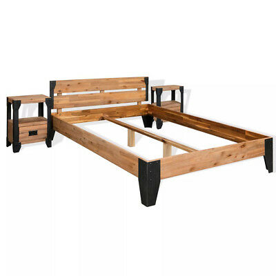 Solid Acacia Wood Industrial Bed Frame with 2 Nightstand 4FT6 Double Super King