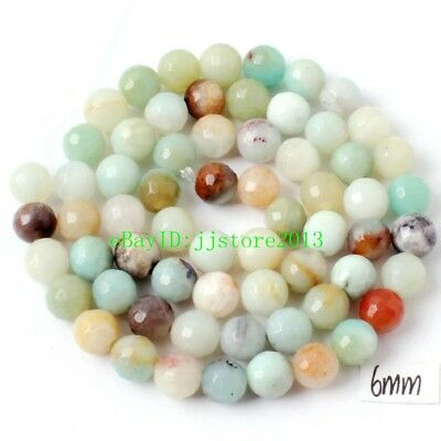 """6mm Natural Multicolor Amazonite Faceted Round Shape Gems Loose Beads Strand 15"""""""