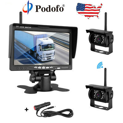 "7"" Monitor + 2x Wireless Rear View Backup Camera Night Vision for RV Truck Bus"