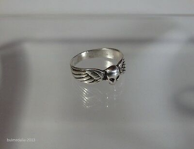 Amazing Antique Silver Ring With Memento Mori Skull & Wings-19Th Century