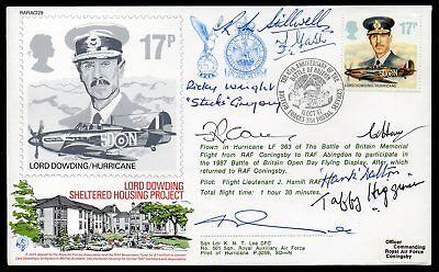 WW2 Battle of Britain Cover Signed by 8 RAF Battle of Britain Pilots DFM Winners
