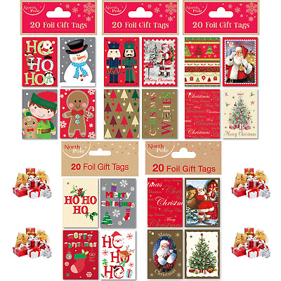 20 Pieces Mixed Xmas Open Booklet Foil Gift Tags Christmas Presents with String