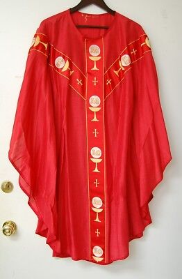 Red Silky Vestment Chasuble - 660 - Alpha Omega - Priest Robes