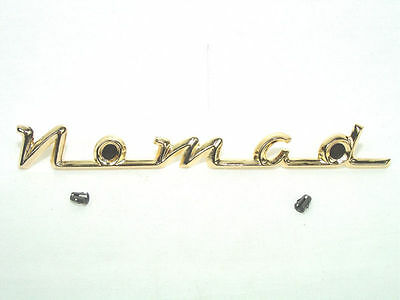 """1955 1956 Chevy """"Nomad"""" Tailgate Script with Clips MATTE Gold  Show Quality!"""