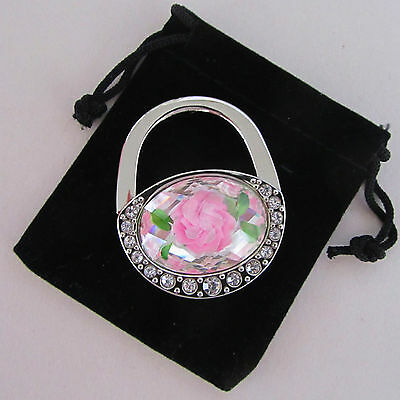 Pink Flower Oval Handbag Shape, Folding Purse Hanger/Caddy (MrSales)