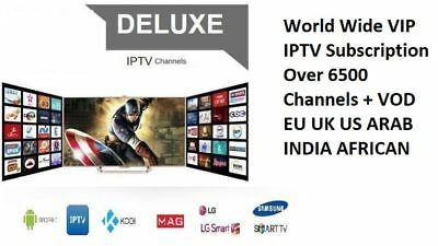 """12 Months"" BEST IPTV +6500 Ch&VOD WORLDWIDE ""PRO"" IPTV SUBSCRIPTION"