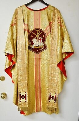 Gold Damask Harbro Vestment Chasuble And Stole - 566 - Episcopal Lamb