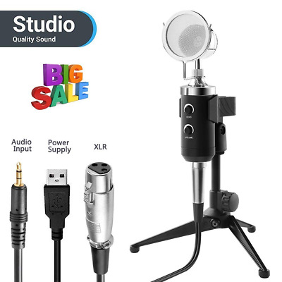 PC Microphone, Professional Studio Condenser Computer PC Kit 3.5mm XLR/USB Power