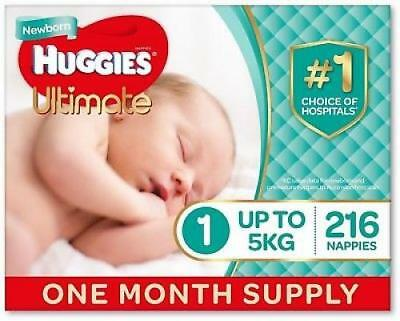 Huggies Ultimate Nappies, Unisex, Size 1 Newborn (Up To 5kg) 216 Count
