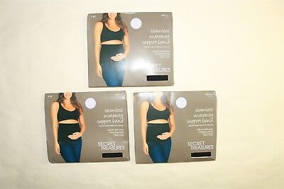 LOT OF 3 SECRET TREASURES Adjustable Seamless Maternity Support Bands BLACK 2XL